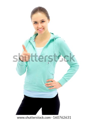 The beautiful young woman plays sports on a white background