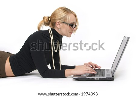 The beautiful young women with laptop.