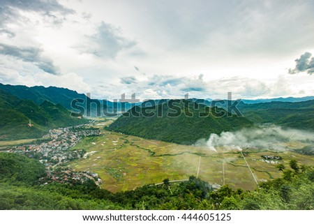 The beauty and landscape MaiChau valley, Hoa Binh province,Vietnam in fog.This is one of the very famous place of rice agriculture, a peaceful valley, a tourist destination, explore, 150km from Hanoi.