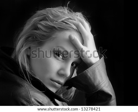 the beauty girl in leather jacket photo - stock photo
