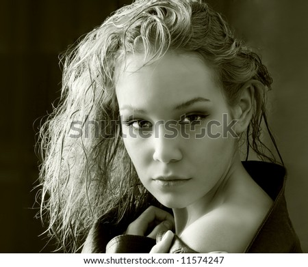 the beauty girl photo image over black background - stock photo