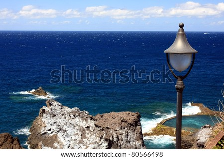 the beauty landscape with the lamp on Tenerife island, Canary islands, Spain - stock photo