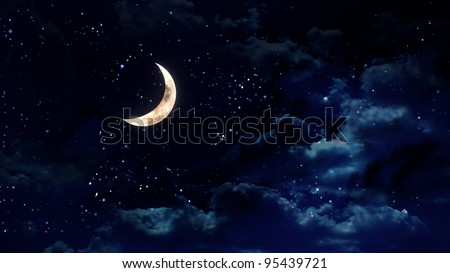 the beauty moon in the night sky - stock photo
