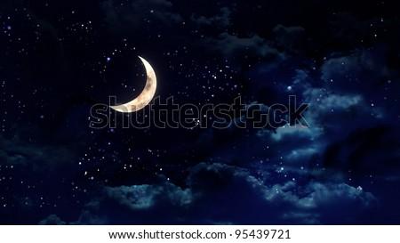 the beauty moon in the night sky - stock photo