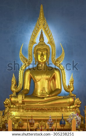 The beauty of the Buddha  in church Benchamabophit Temple . This is an important buddhist temple of thailand and a famous tourist destination. - stock photo