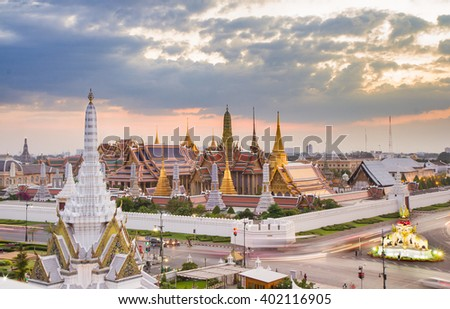 The beauty of the Emerald Buddha Temple and the Grand Palace at twilight,This is an important buddhist temple and a famous tourist destination of bangkok, Thailand.
