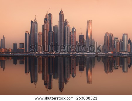 The beauty panorama of skyscrapers in Dubai Marina. UAE - stock photo