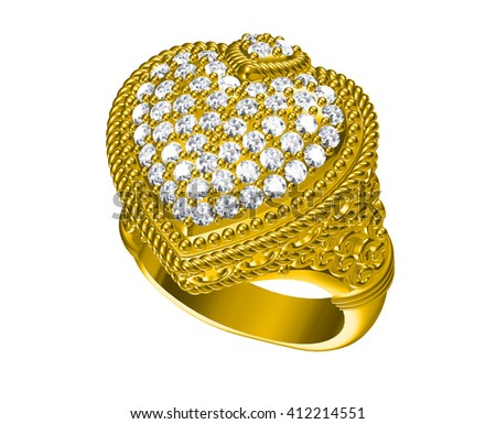The beauty wedding ring  .3D illustration
