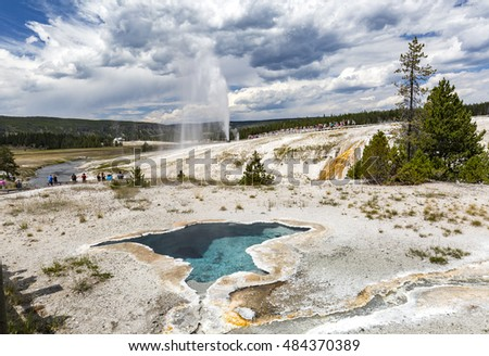The Beehive Geyser is named for its 4-foot high cone that resembles an old fashioned beehive. The cone acts as a nozzle, directing a column of steam and water to heights of up to 200 feet.