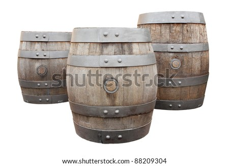 The beer barrels on a white background. - stock photo