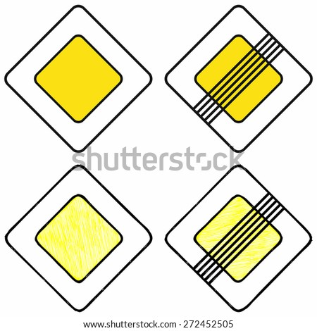The beginning of the main road and end of main road. Road signs priority. Raster version - stock photo