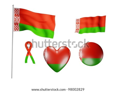 The Belarus flag - set of icons and flags on white background - stock photo