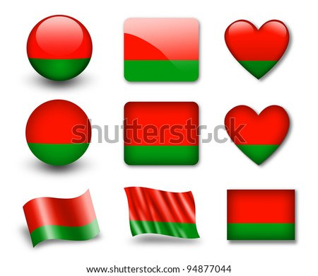The Belarusian flag - set of icons and flags. glossy and matte on a white background. - stock photo