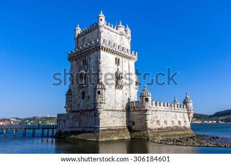 The Belem Tower in Lisbon, Portugal. - stock photo
