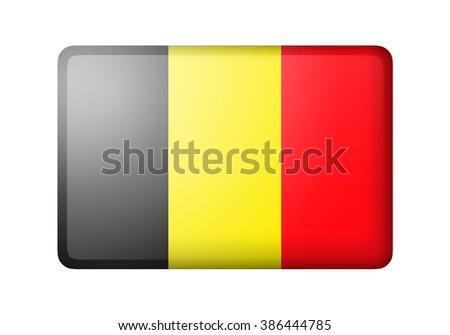The Belgian flag. Rectangular matte icon. Isolated on white background. - stock photo
