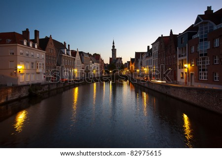 The belgian town of Bruges at sunset - stock photo