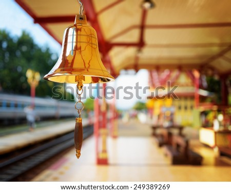 The bell is at the station Hua Hin in Thailand. It is a popular tourist attraction of Thailand. - stock photo