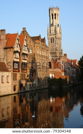 the Bell Tower and old town of Bruges in Belgium
