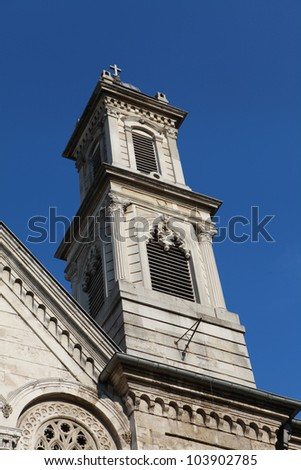The Bell Tower of Ayia Triada Greek Orthodox Church in Istanbul, Turkey.
