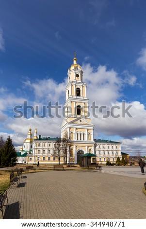 The bell tower of Holy Trinity-Saint Seraphim-Diveyevo Monastery. Nizhny Novgorod Region. Russia - stock photo