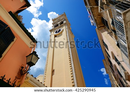 The bell tower of Saint Spyridon Church, Corfu, Greece