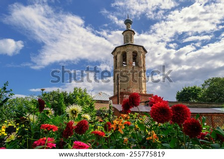 The bell tower of the Cathedral of the Smolensk Icon of the Mother of God in Ostashkov, Russia
