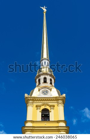 The bell tower of the Peter and Paul Cathedral in St. Petersburg, Russia - stock photo