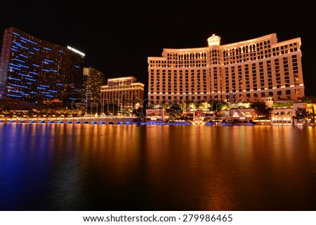 The Bellagio hotel, Las Vegas evening screen, May 20, 2015 Las Vegas is one of the most tourist attraction in the United States. - stock photo