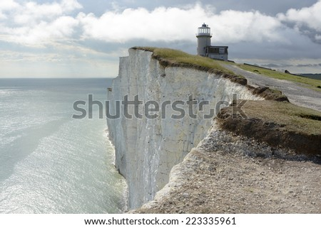 The Belle Tout lighthouse on top of Beachy Head near Eastbourne in East Sussex. England - stock photo
