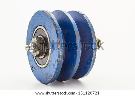 The belt type pulley bearings. On a white background.