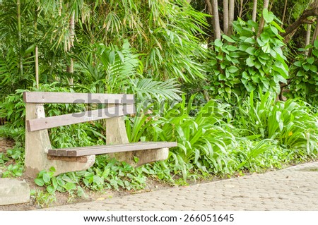 the bench in green park - stock photo