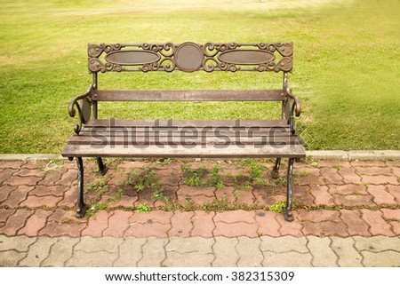 The bench stainless in garden it build - stock photo