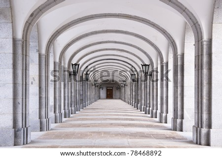 The Benedictine Abbey of the Holy Cross of the Valley of the Fallen - stock photo