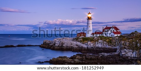 The Benevolent Sentinel, The Portland Head Light After Sunset, Portland Maine, USA, Panoramic View - stock photo