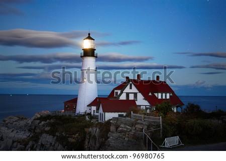 The Benevolent Sentinel, The Portland Head Light At Night, Portland Maine - stock photo