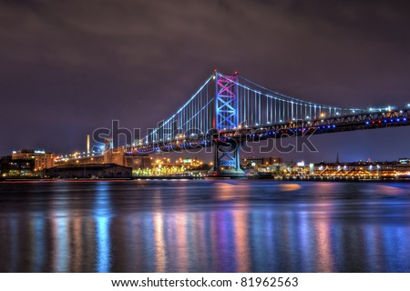 The Benjamin Franklin Bridge, originally named the Delaware River Bridge, is a suspension bridge across the Delaware River connecting Philadelphia, Pennsylvania and Camden, New Jersey. - stock photo