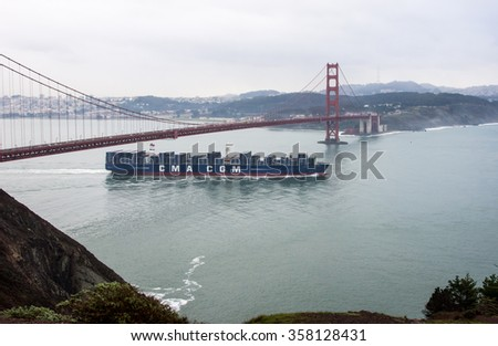 The Benjamin Franklin, the largest ship to dock in the United States, sails out of San Francisco Bay on January 5th, 2016.
