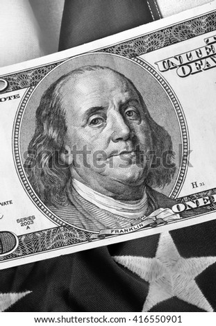 The Benjamin known as  a hundred dollar bill in black and white.