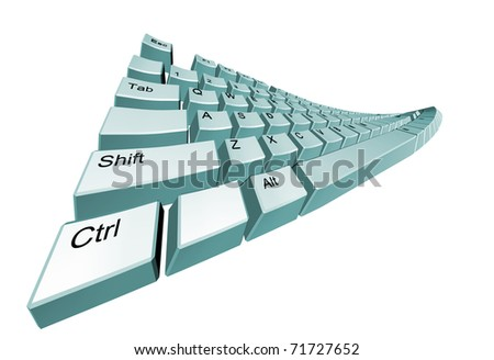 The bent computer keyboard. It is isolated on a white background - stock photo