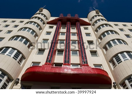 The Beresford Building, an art deco construction formerly known as the Baird Hall, in Sauchiehall Street, Glasgow, Scotland, UK, Europe. Photographed at dynamic diagonal angle. - stock photo