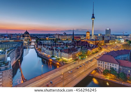 The Berlin skyline with the famous TV Tower at the blue hour