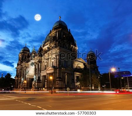the Berliner Dom in the night in Berlin Germany - stock photo