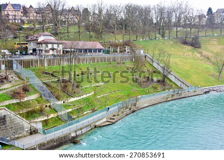 The Bern Bears in the new Bern Bear Pit.  The Pit houses the famous Bern bears that gave the Swiss capital city its name.  - stock photo