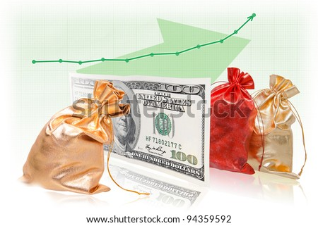 The best business success formula: commodity - money - commodity with graph increment. Capital gains from trading operations. - stock photo