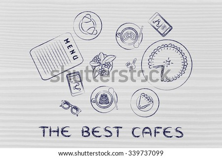 the best cafes: table with menu, meal, pie, phone and coffee (flat illustration)