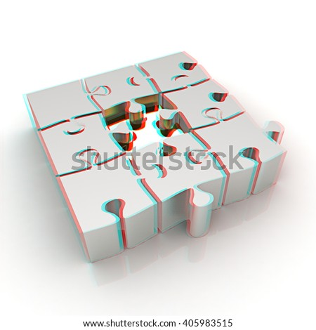 The best choice of puzzles on a white background. 3D illustration. Anaglyph. View with red/cyan glasses to see in 3D. - stock photo