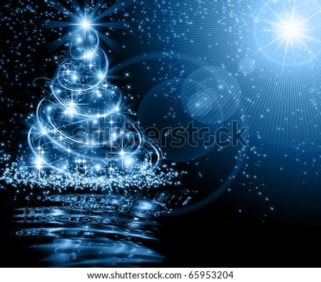 The best Christmas golden tree background - stock photo