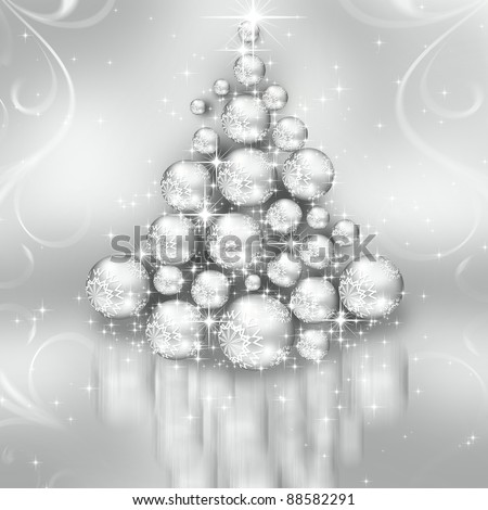 The best Christmas silver tree background - stock photo