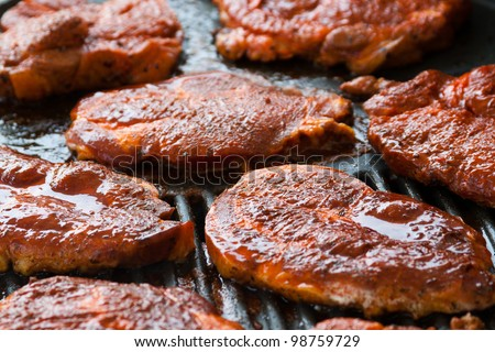 the best cut of the meat at a grill - stock photo