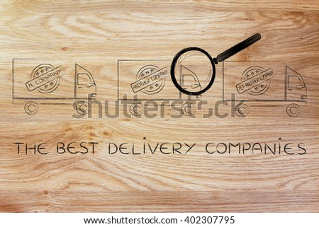 the best delivery companies: trucks from different companies and magnifying glass analyzing them - stock photo